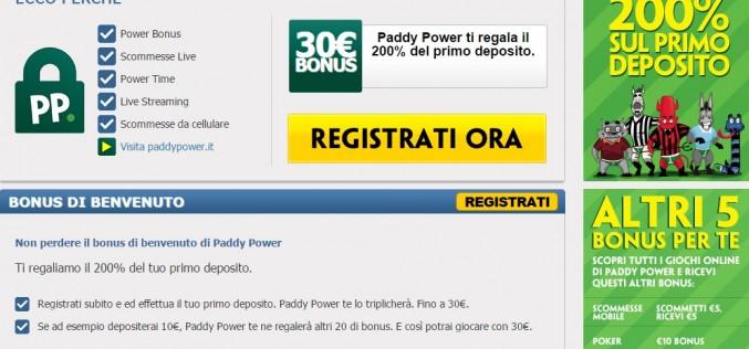Bonus Scommesse Paddy Power 200%