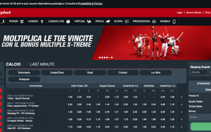 Scommesse sportive sul portale italiano Stanleybet.it