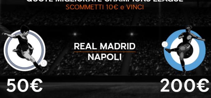 Quote maggiorate Champions League Real Madrid-Napoli 15 febbraio 2017
