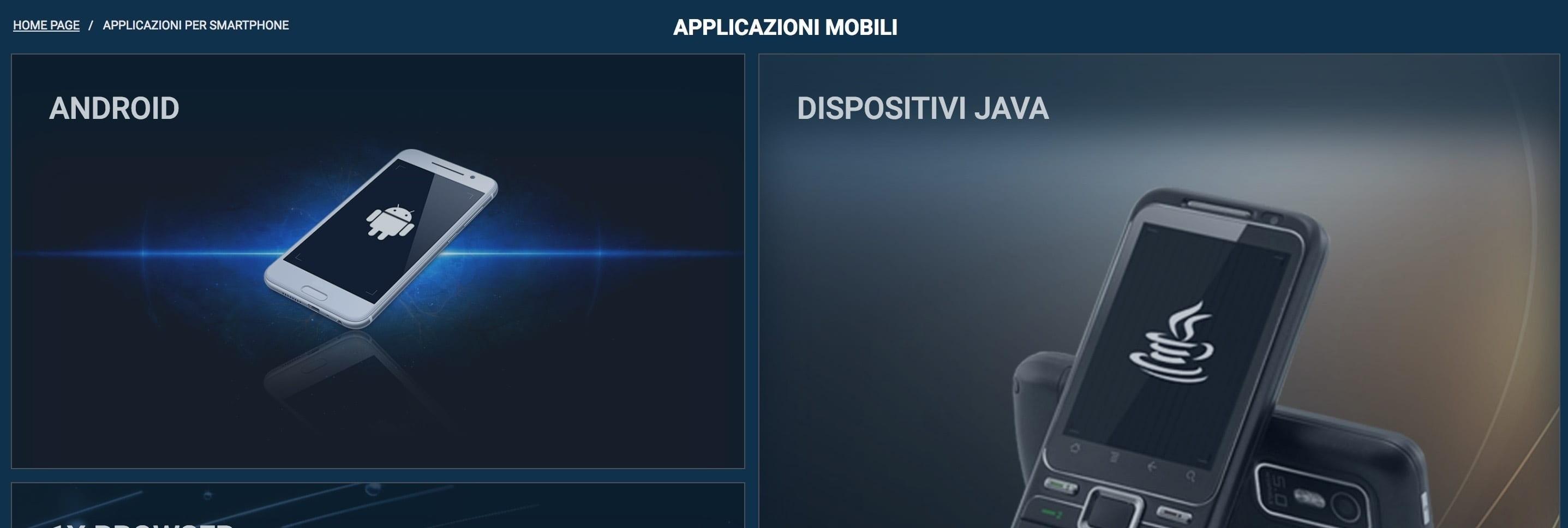 1xbet applicazione mobile