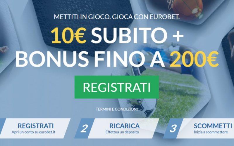 Eurobet ti regala un Bonus istantaneo di €10 e un Bonus del 50% fino a €200