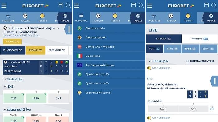 Le Eurobet app per Giocare e Scommettere da Mobile