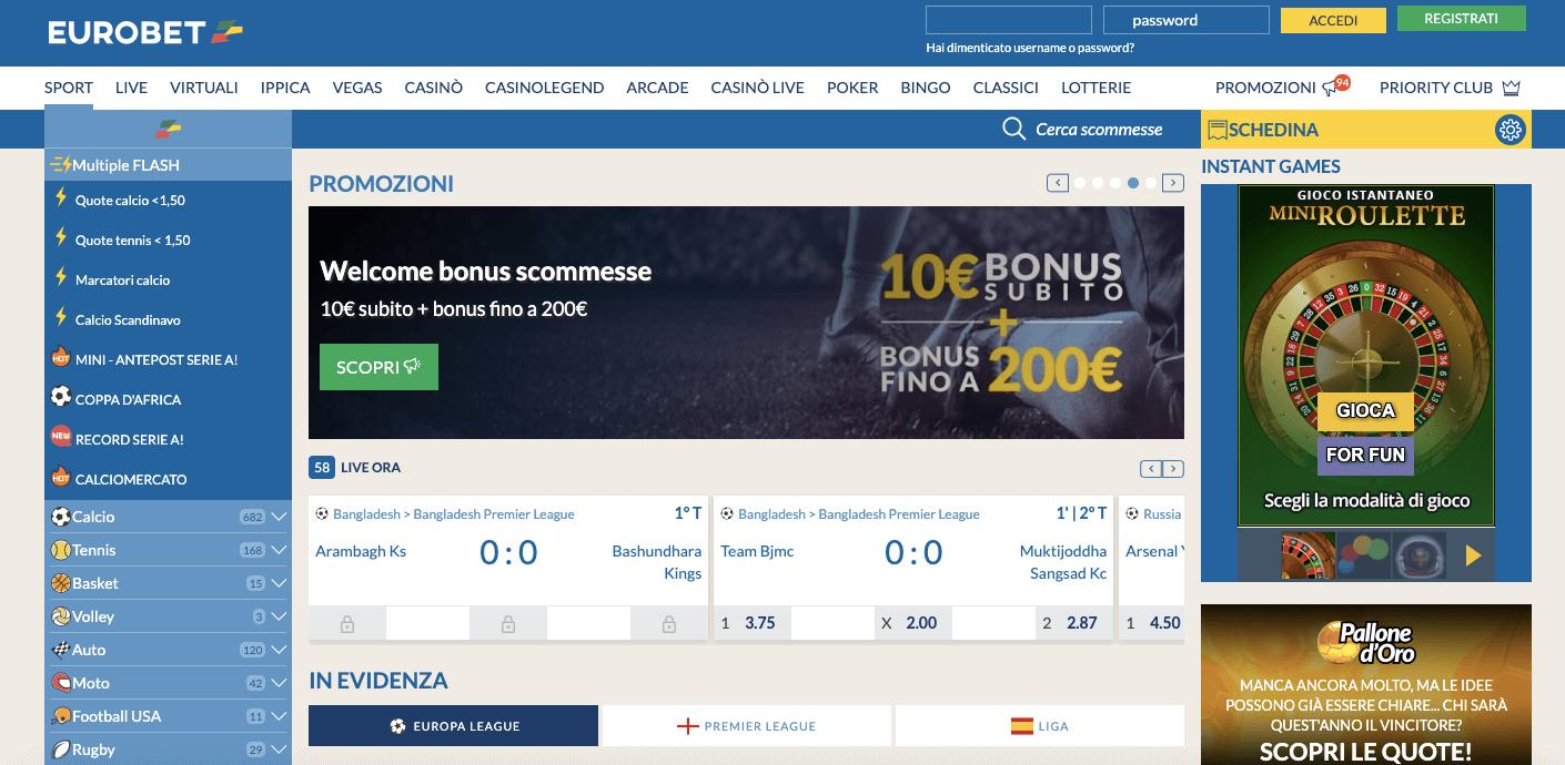 Eurobet Scommesse Sportive