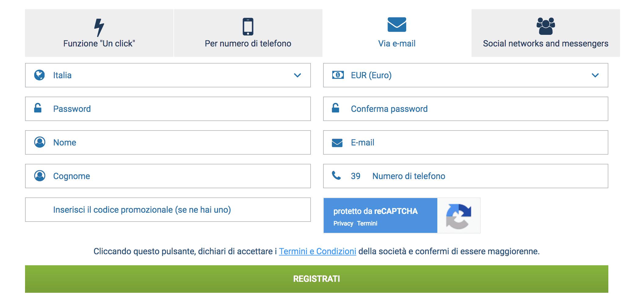 iscriviti a 1xbet tramite email