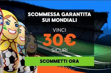Scommessa garantita sui Mondiali con 888Sport: per €30 sicuri!