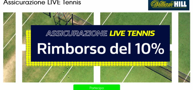 Assicurazione LIVE Tennis di William Hill: fino a €25 per te!