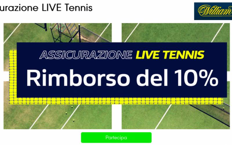 Assicurazione LIVE Tennis di William Hill: fino a €25 per te!
