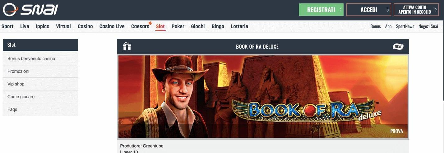 book of ra snai casino