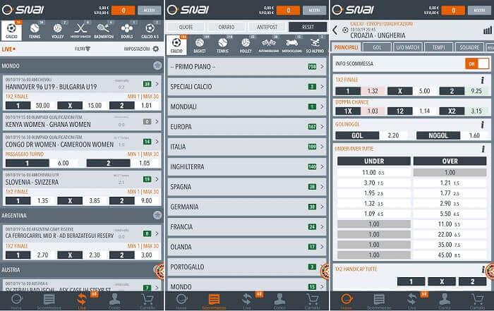 Snai Mobile App per Giocare e Scommettere