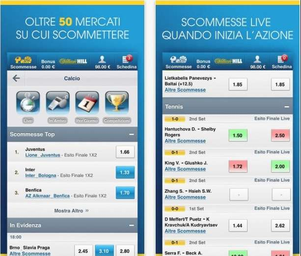 William hill app scommesse sport tipologie