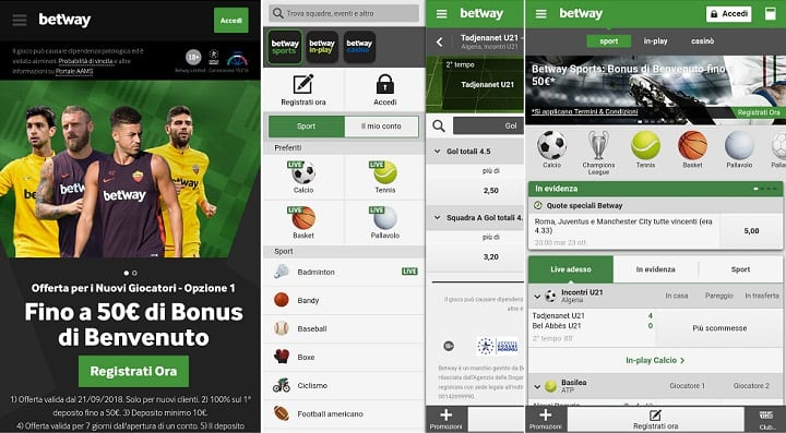 Betway app mobile screenshot