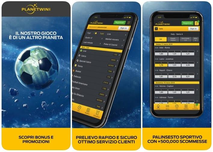 Planetwin365 app mobile Italia
