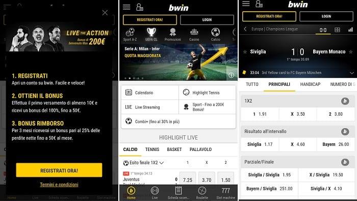 app scommesse sportive di Bwin