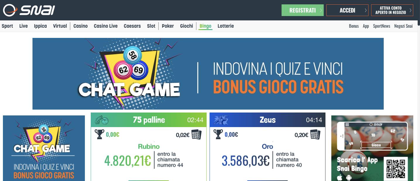 snai homepage bingo