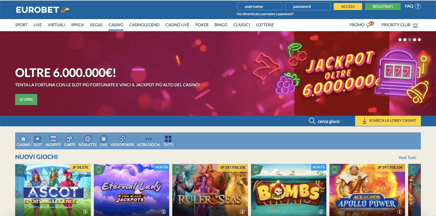eurobet casino home