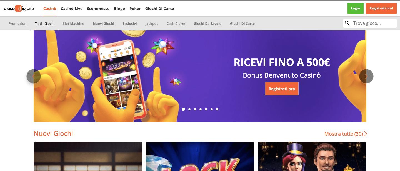 GiocoDigitaleCasino homepage