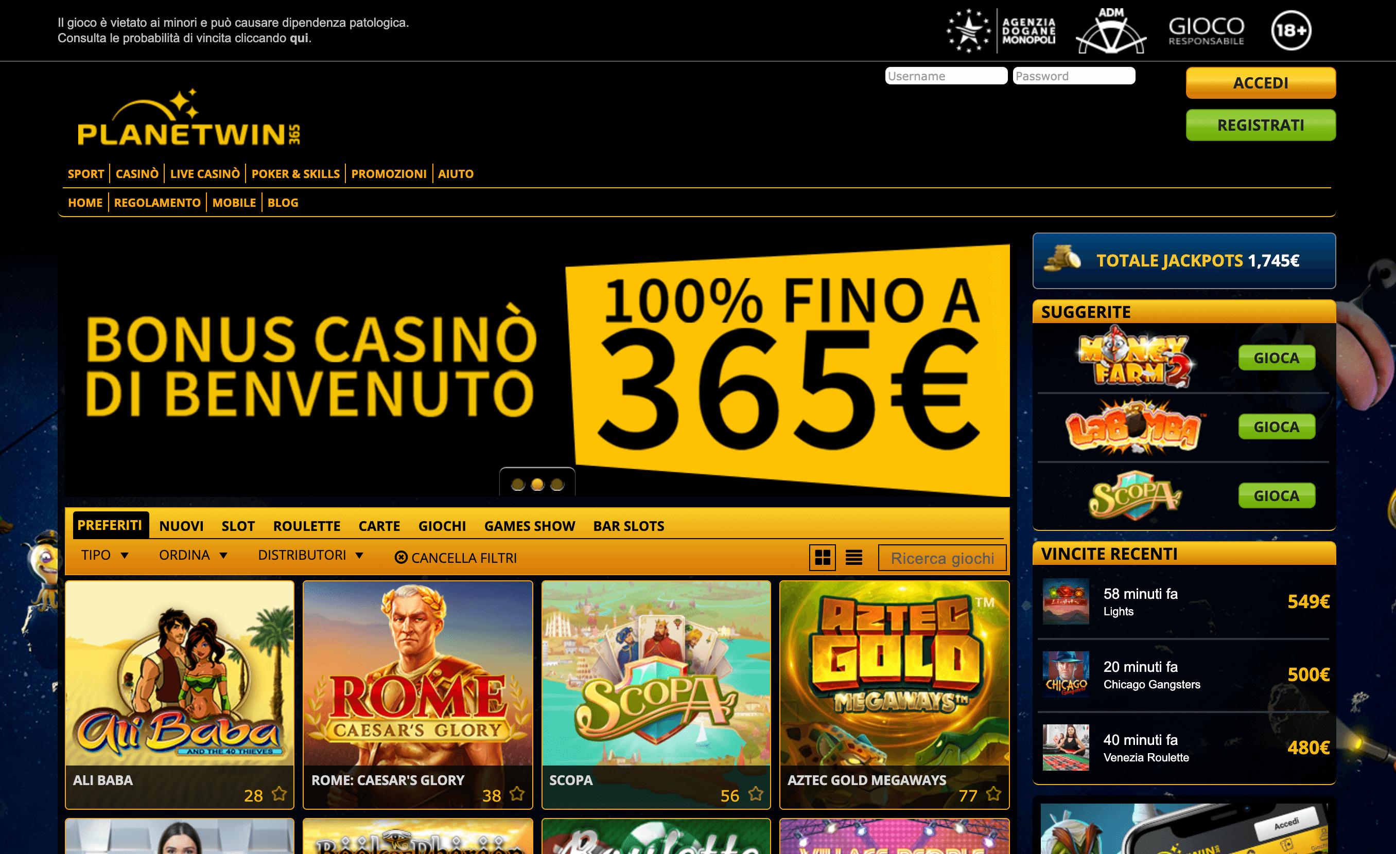 planetwin365 casino home
