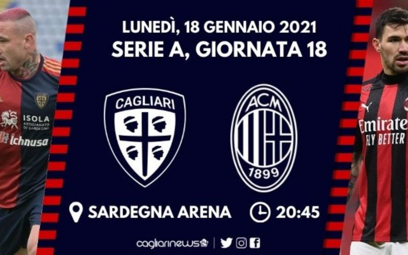 Serie A, Cagliari-Milan: quote, pronostico e probabili formazioni (18/01/2021)