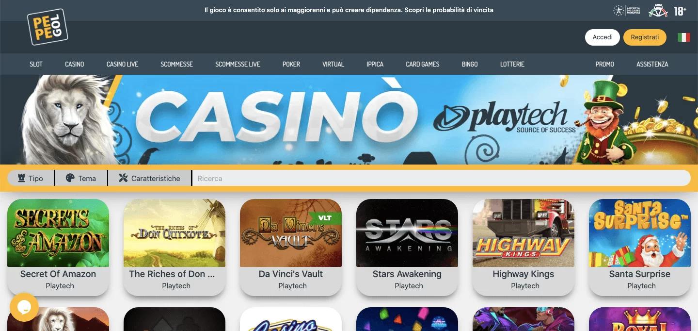 Pepegol Casino Homepage