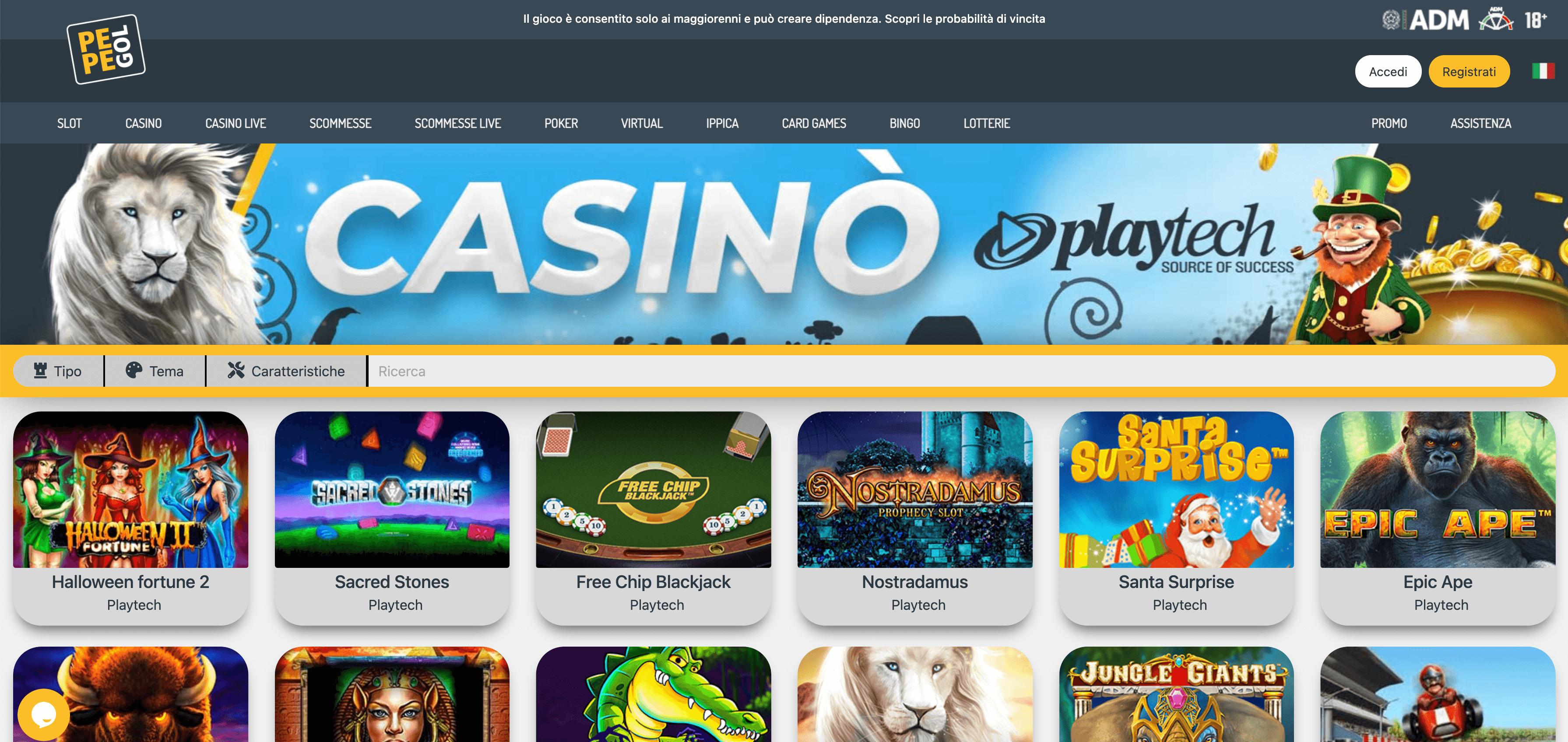 pepegol casino online